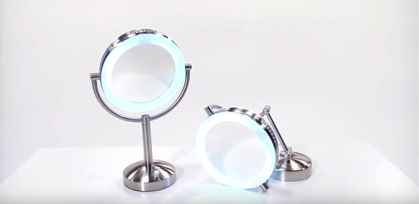 Brookstone 10X/1X Natural-Light Tabletop Makeup Mirror