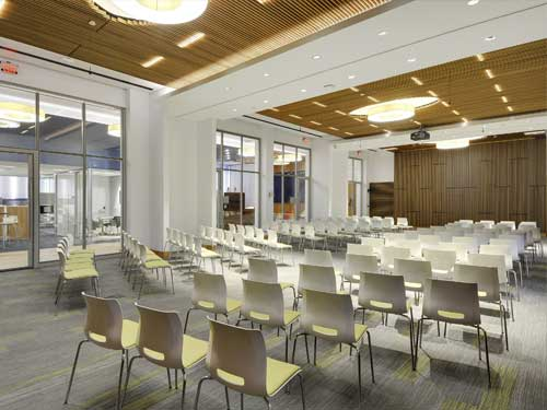 Large divisible conference room that can adjust to attendance size.