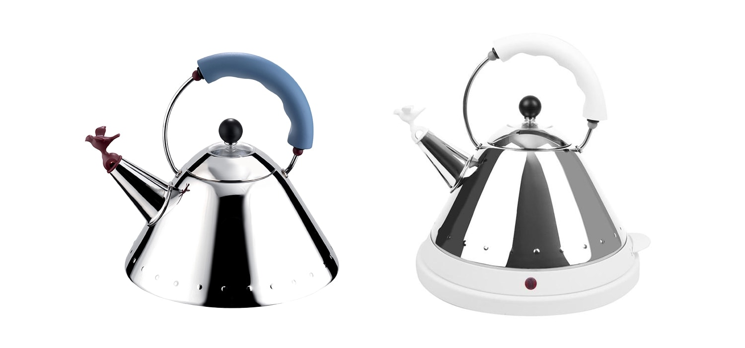 Alessi Whistling BIrd Teakettle 1985 and Electric Whistling Bird Teakettle 2001 by Michael Graves
