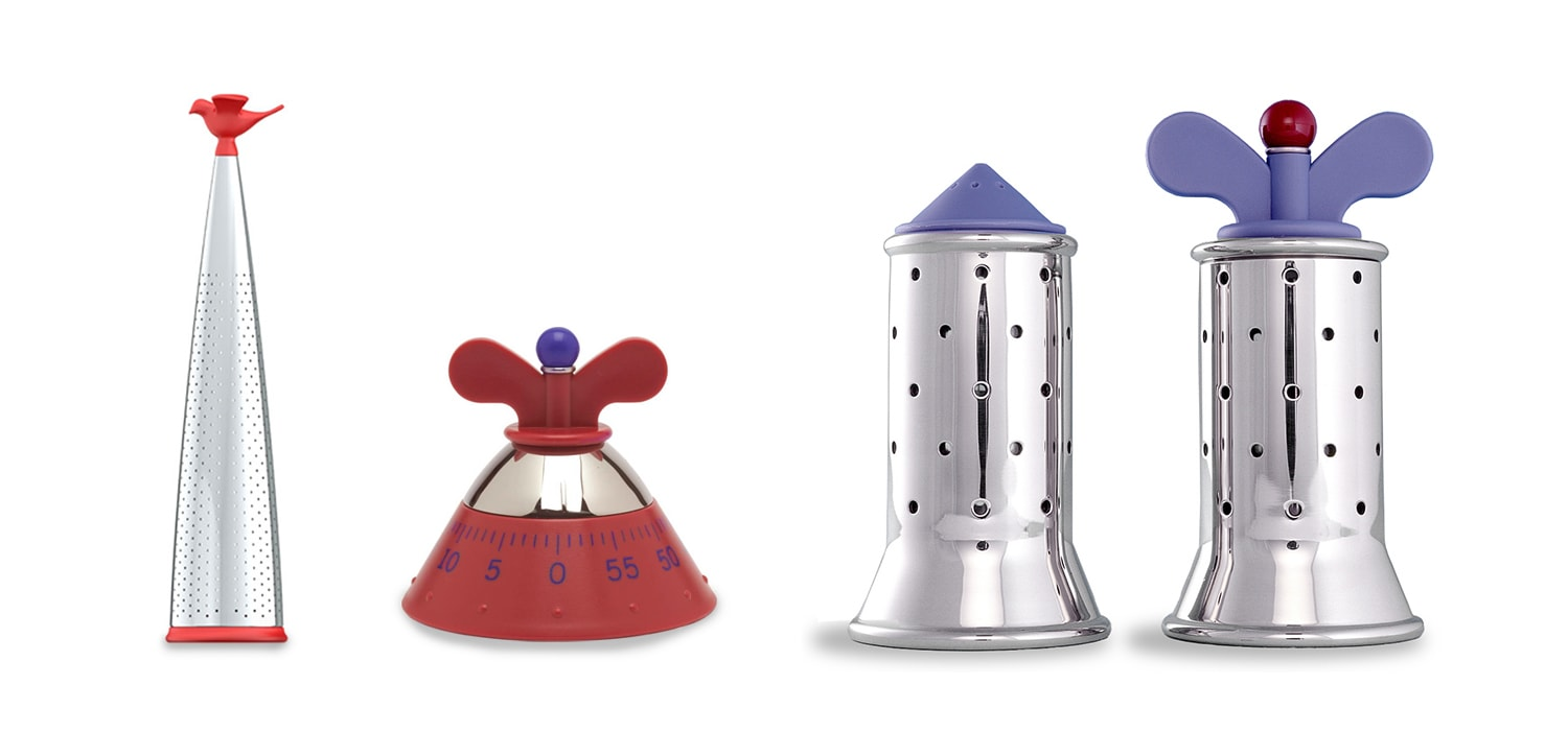Alessi Timer, Salt & Pepper Shaker and Tea infuser by Michael Graves