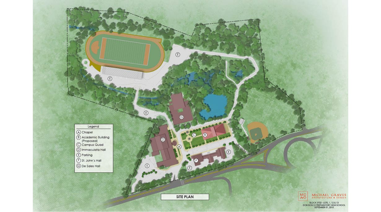 Savio Hall & Sacred Heart Chapel site plan
