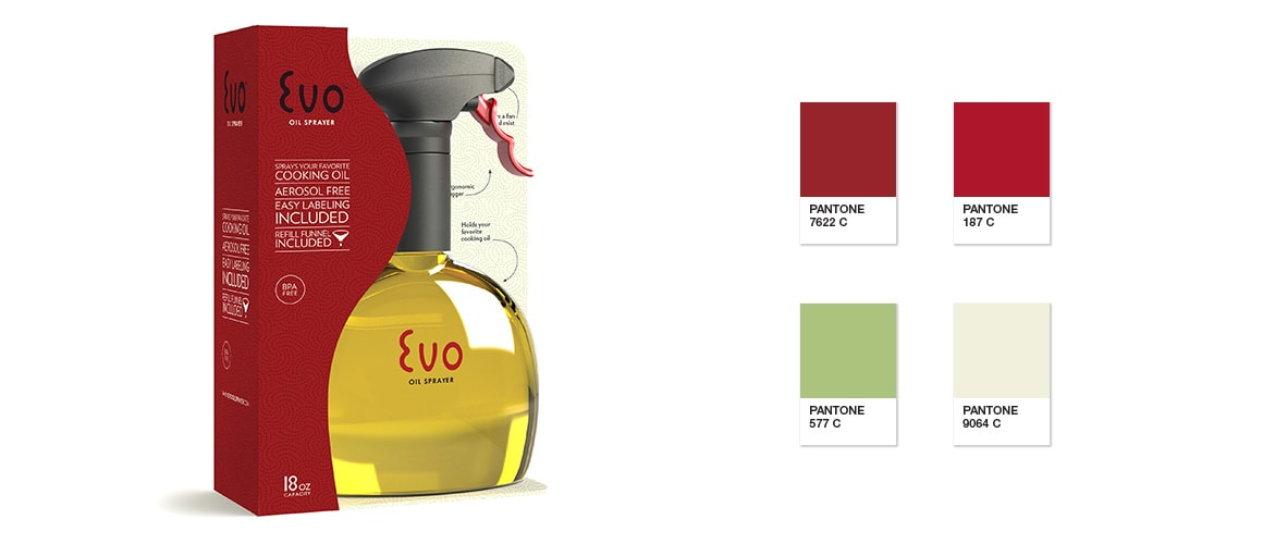 Evo Oil Sprayer packaging and color palette by Michael Graves